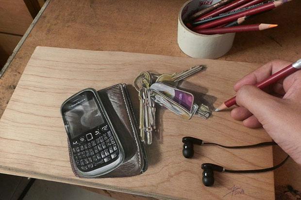ภาพวาด 3 มิติ โทรศัพท์มือถือ พวงกุญแจ