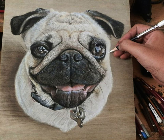 ภาพวาด 3 มิติ หมา