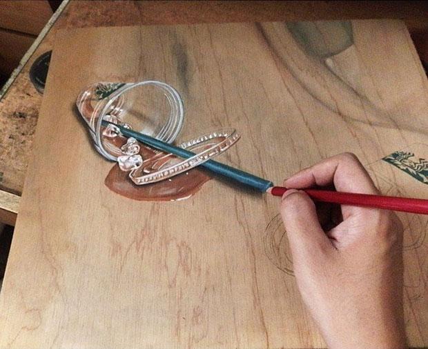 ภาพวาด 3 มิติ แก้วกาแฟสตาร์บัคส์